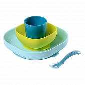 BEABA Набор посуды: 2 тарелки, стакан, ложка SILICONE MEAL SET BLUE