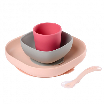BEABA Набор посуды: 2 тарелки, стакан, ложка SILICONE MEAL SET PINK